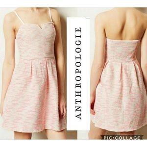 Anthropologie pink tweed dress
